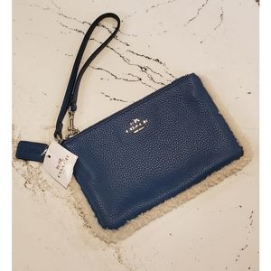 NWT Coach Shearling Blue Leather Wristlet